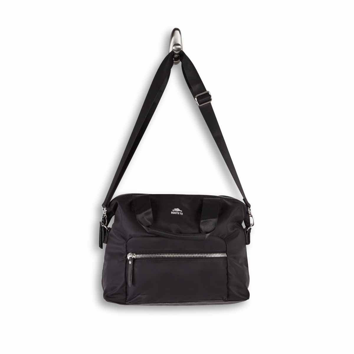 Lds Roots73 black top zip shoulder bag