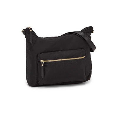 Roots Women's R5685 black top zipper hobo bag