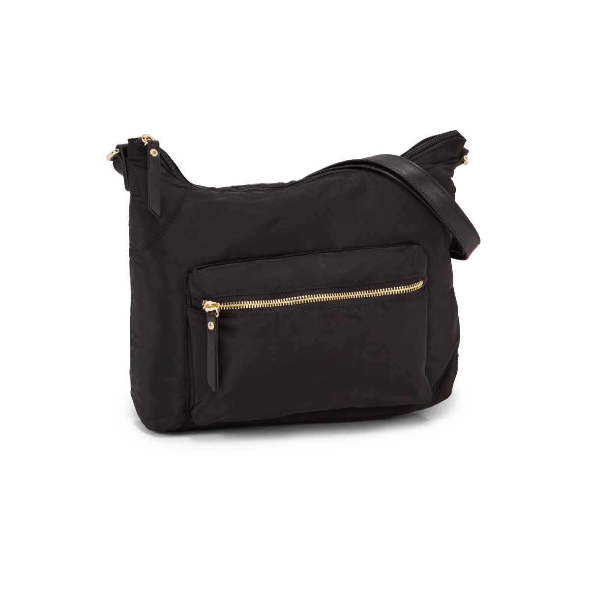 Lds Roots73 black top zip hobo bag