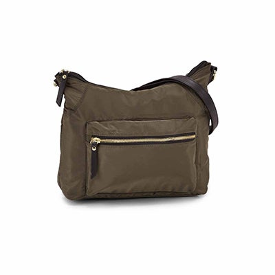Roots Women's R5685 khaki top zipper hobo bag