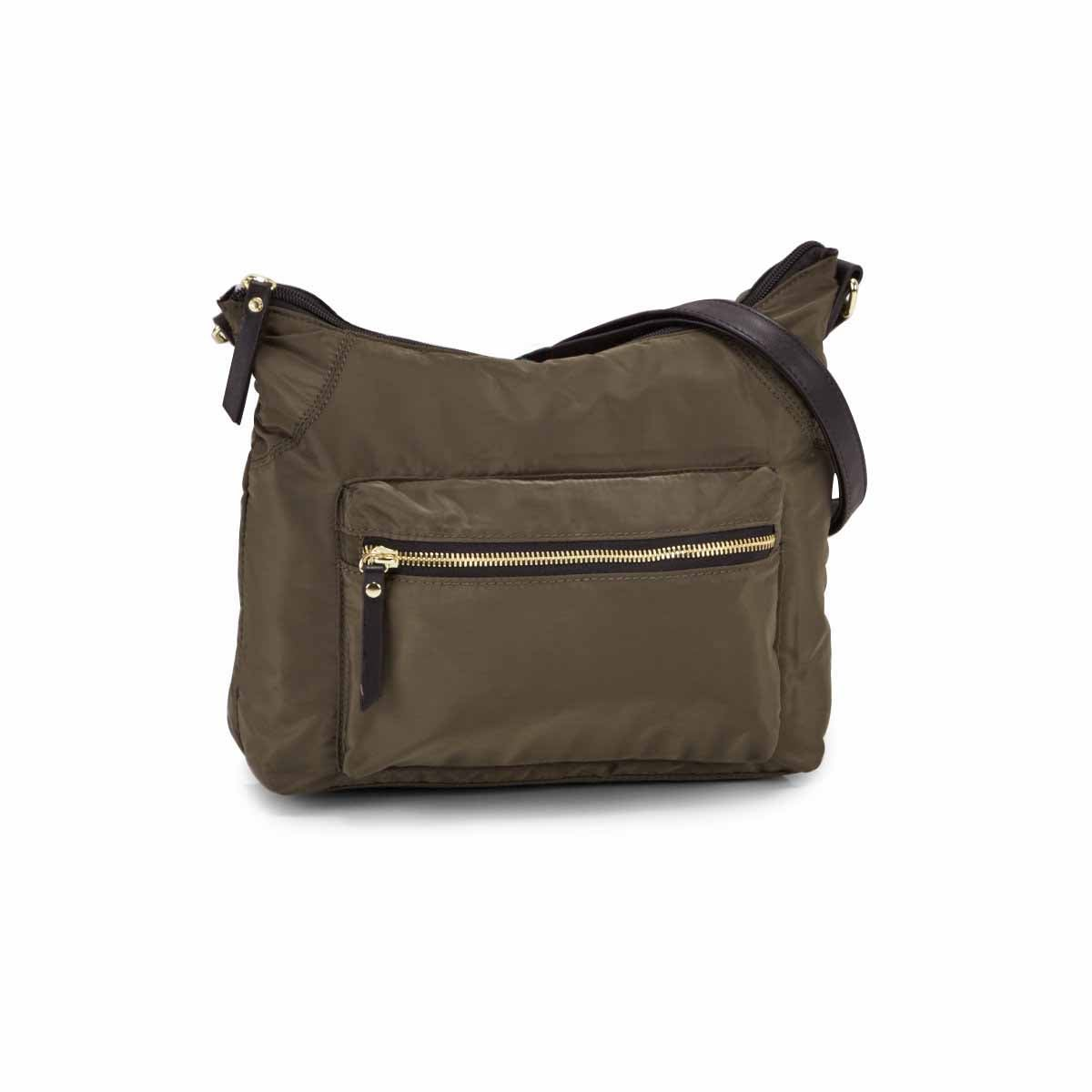 Lds Roots73 khaki top zip hobo bag