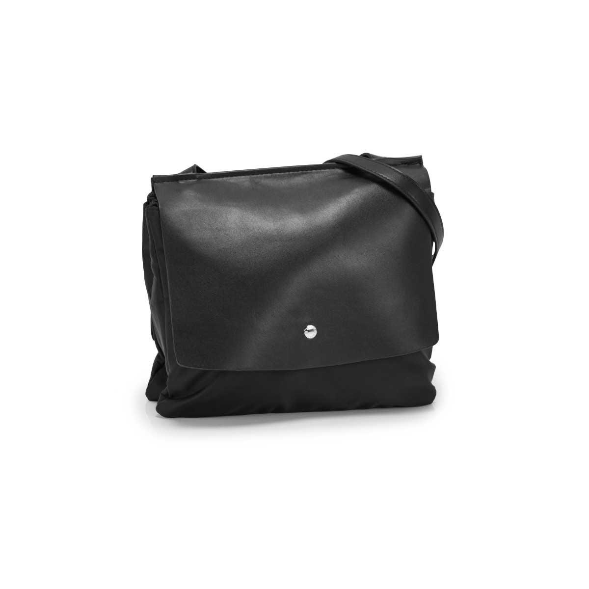Lds Roots73 blk double flap shoulder bag