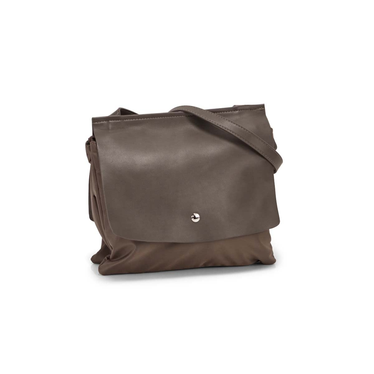 Lds Roots73 gry double flap shoulder bag