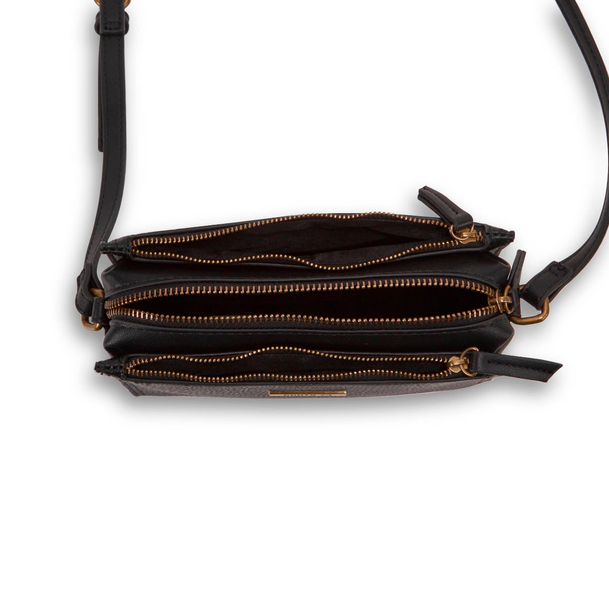 Lds Roots73 blk 3 compartment crossbody