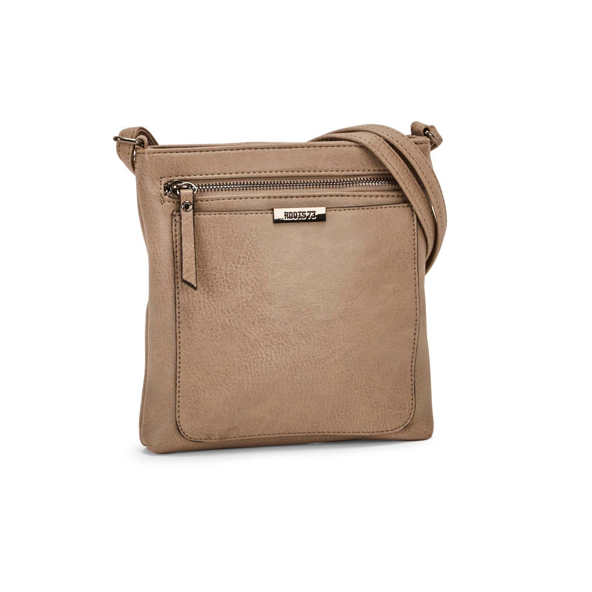Lds Roots73 taupe top zip crossbody bag