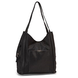 Roots Women's R5738 black 3 compartment satchel
