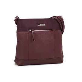 Roots Women's R5764 burgundy front pocket crossbody bag