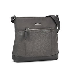 Roots Women's R5764 grey front pocket crossbody bag