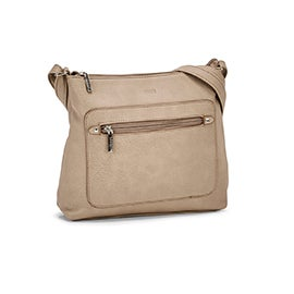 Roots Women's R5784 taupe painted edge crossbody