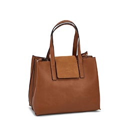 Roots Women's R5826 cognac flap cover satchel