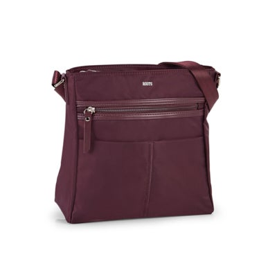 Roots Women's R5876 burgundy NORTH/SOUTH crossbody bag