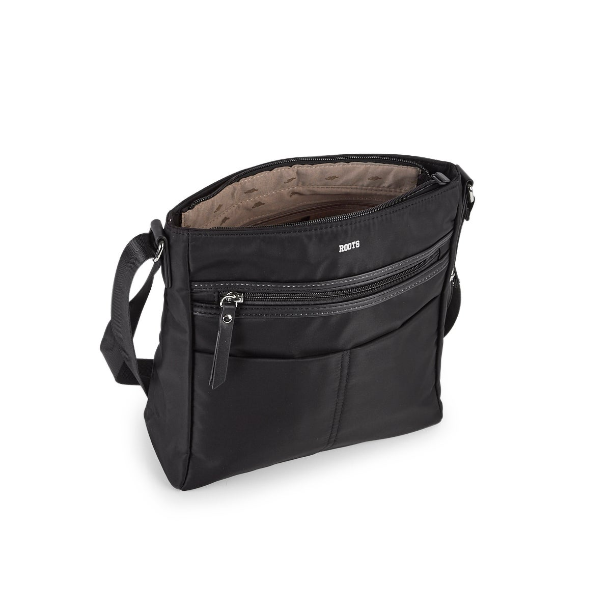 Lds Roots73 blk n/s mlti pckt crossbody