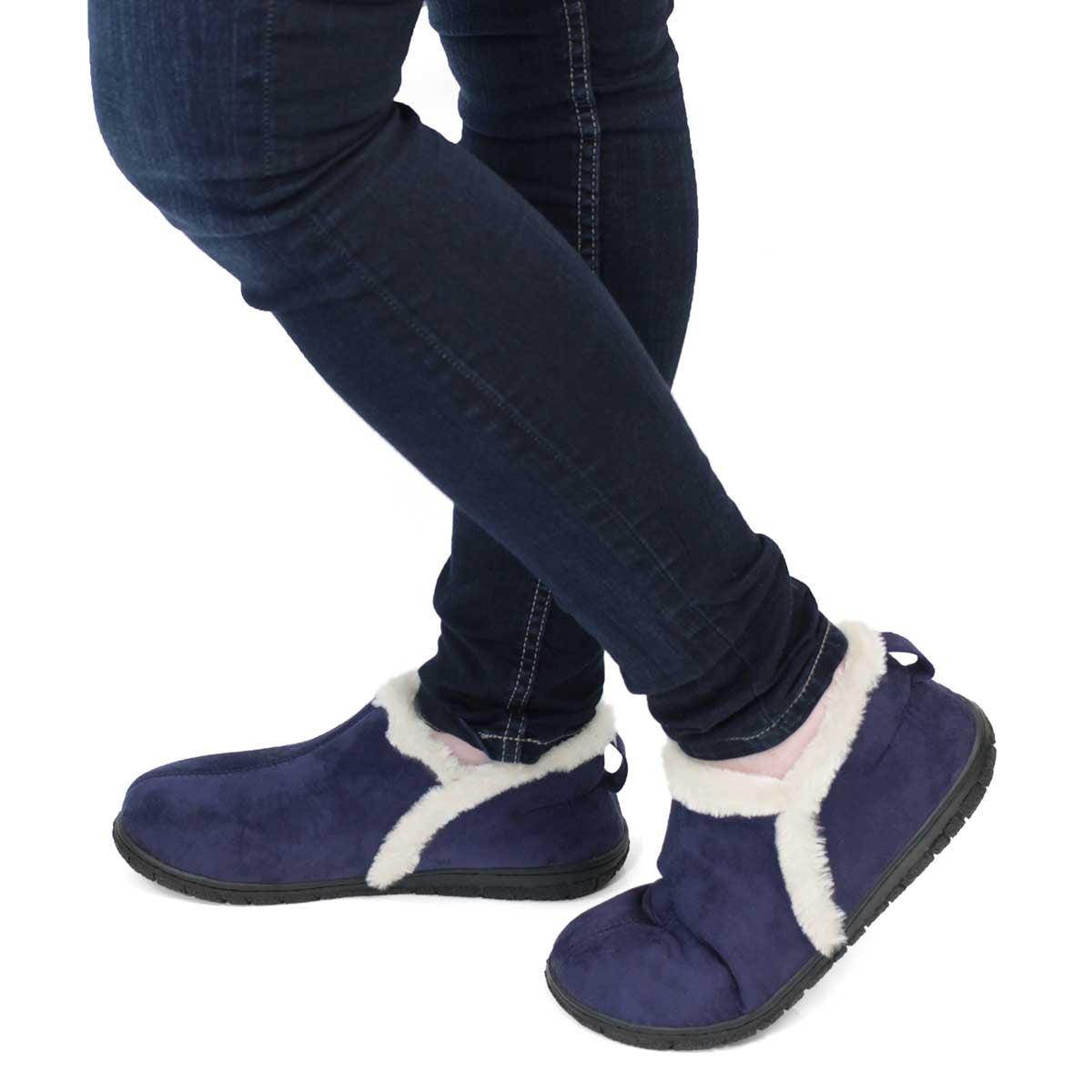 Lds Rachel nvy mem foam clsd bck slipper