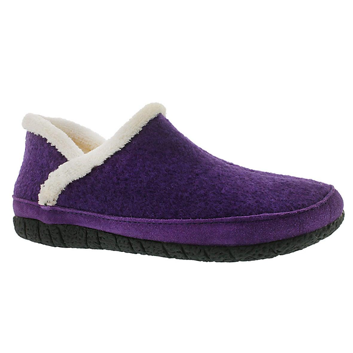 Lds Raglan purple micro suede slipper