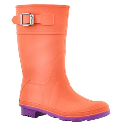 Kamik Girls' RAINDROPS coral waterproof rain boots