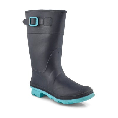 Grls Raindrops navy/teal wtpf rain boot