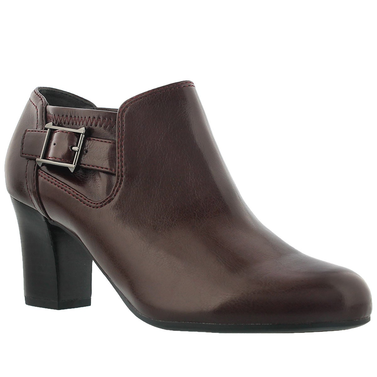 Lds Rapport burgundy buckle dress heel