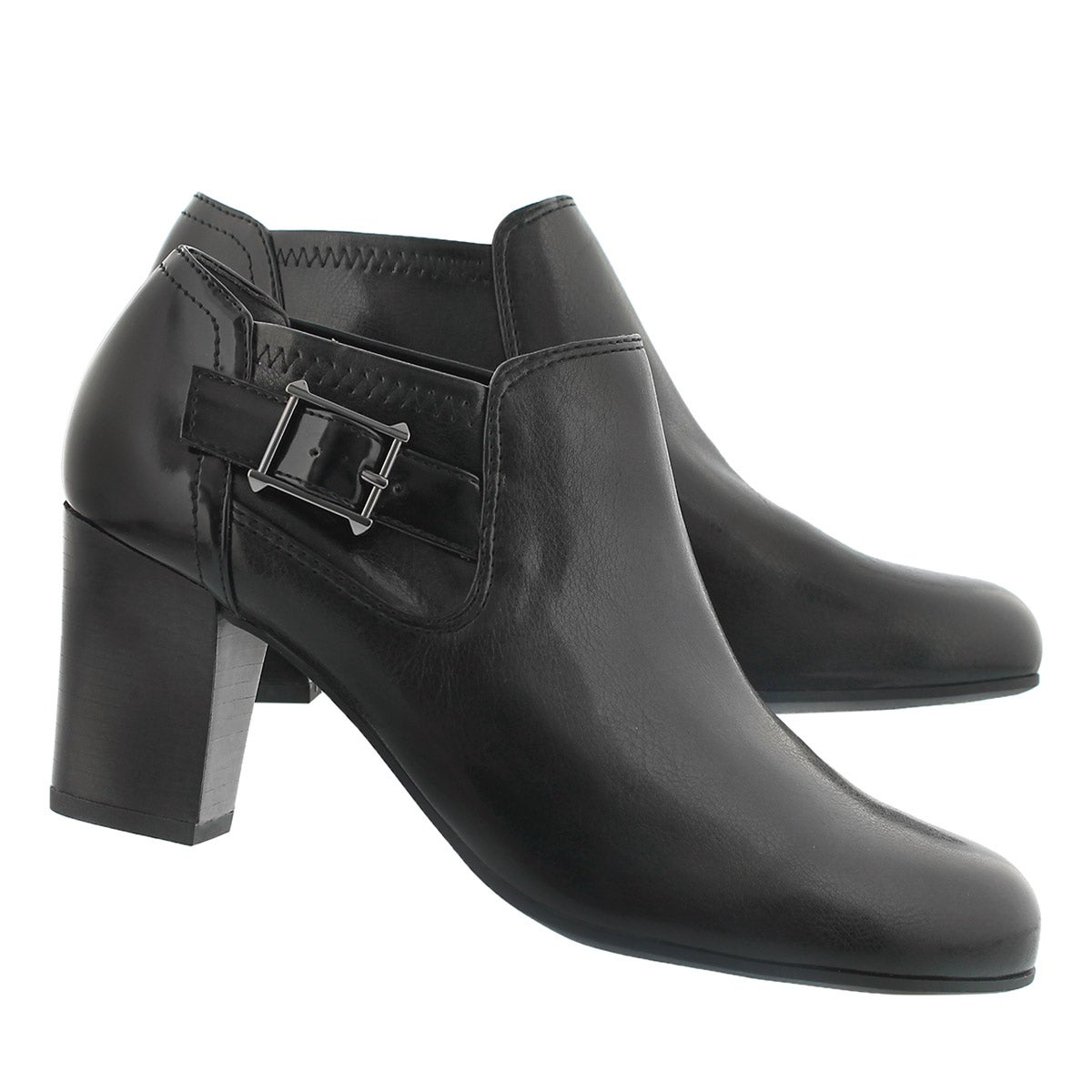 Lds Rapport black buckle dress heel