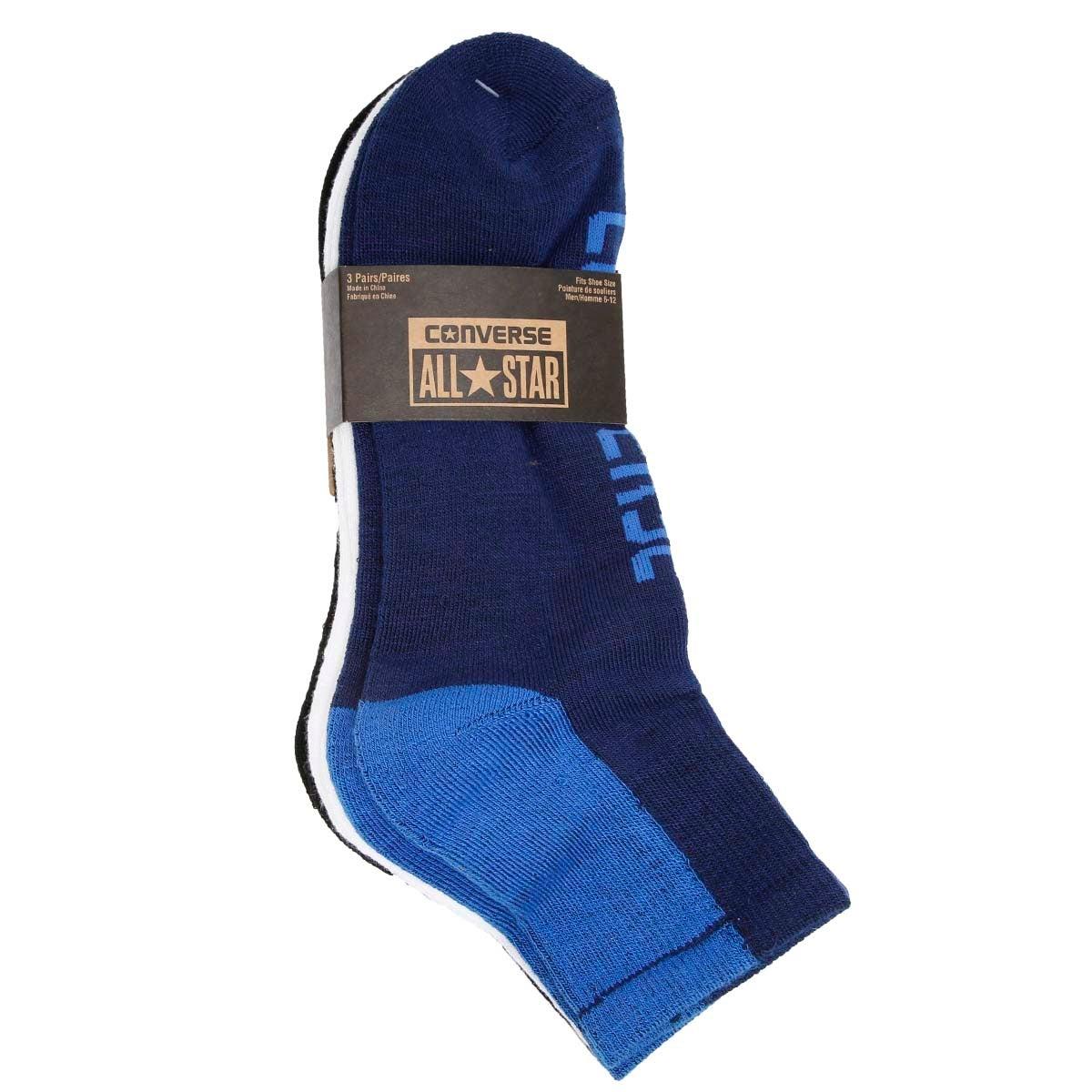 Mns Converse nvy/wht/blk 1/4 sock - 3pk