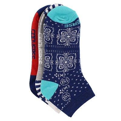 Women's CONVERSE BANDANA blue lowcut sock 3pk