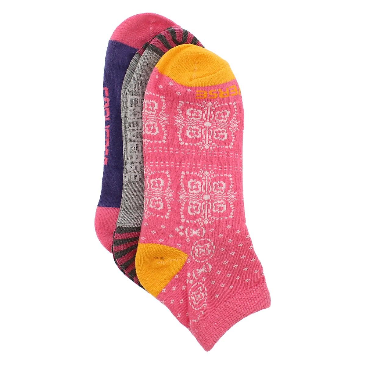 Lds Converse Bandana pnk lowcut sock 3pk
