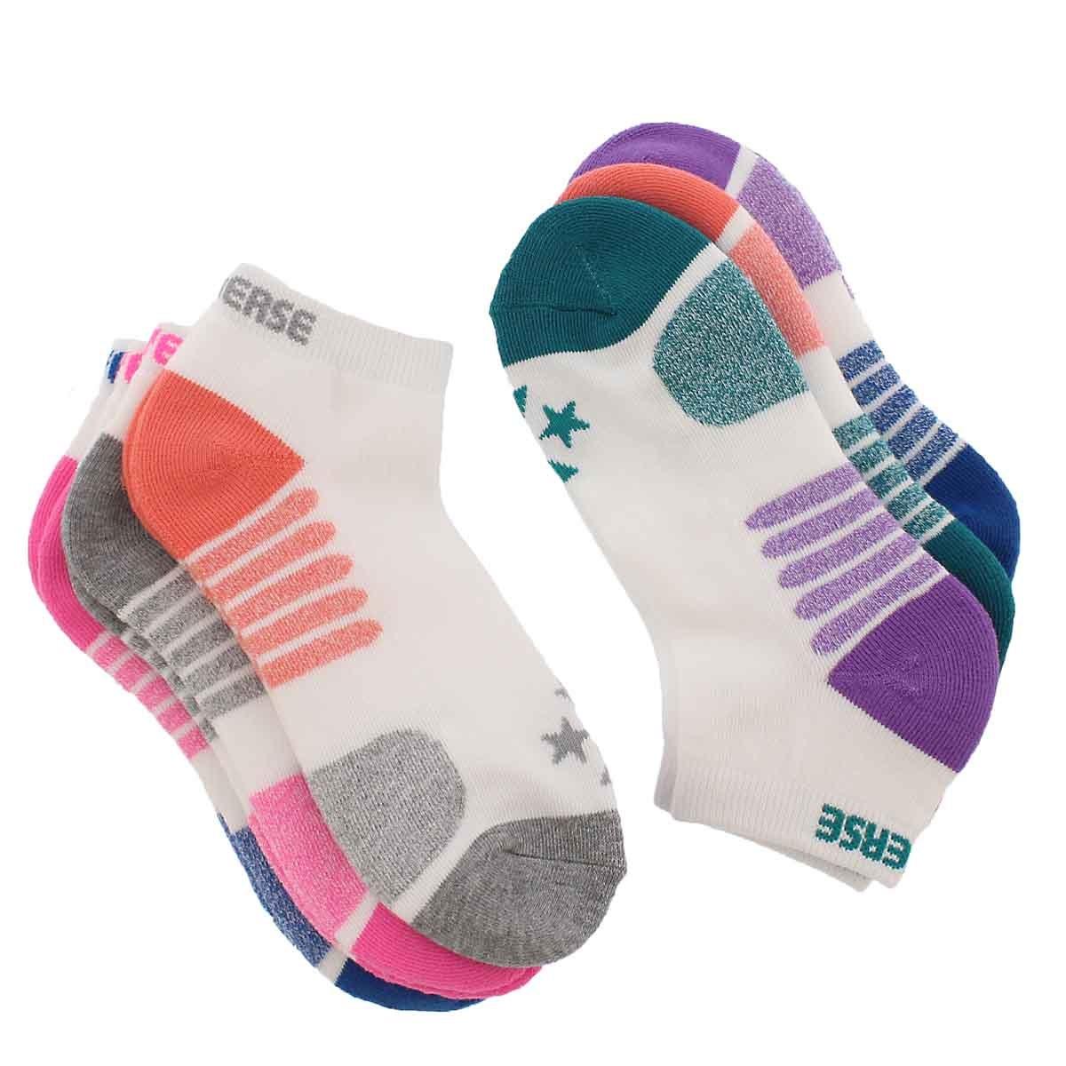 Lds Converse wht/mlt low cut sock 6pk