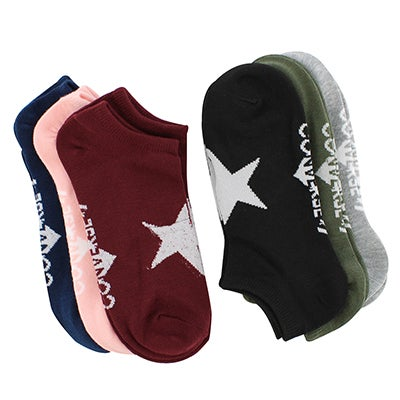 Converse Women's BOOM CHEVRON NO SHOW multi socks - 6 pk