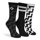 Lds Crew Zig Zag black sock 3 pk