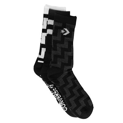 Converse Women's CREW ZIG ZAG black socks - 3 pk