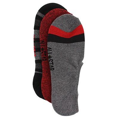 Men's CONVERSE black multi no show socks - 3pk