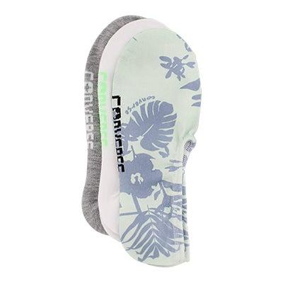 Lds Hawaiin Floral Print multi sock 3 pk