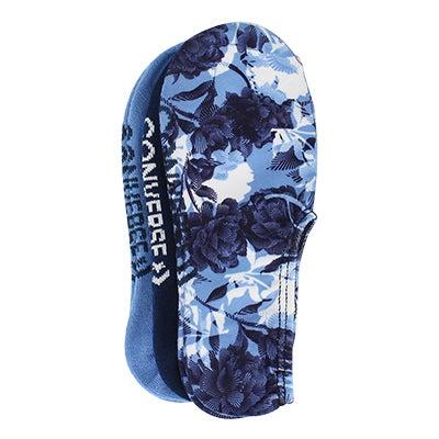 Converse Women's FLORAL NO SHOW blue print socks 3 pk