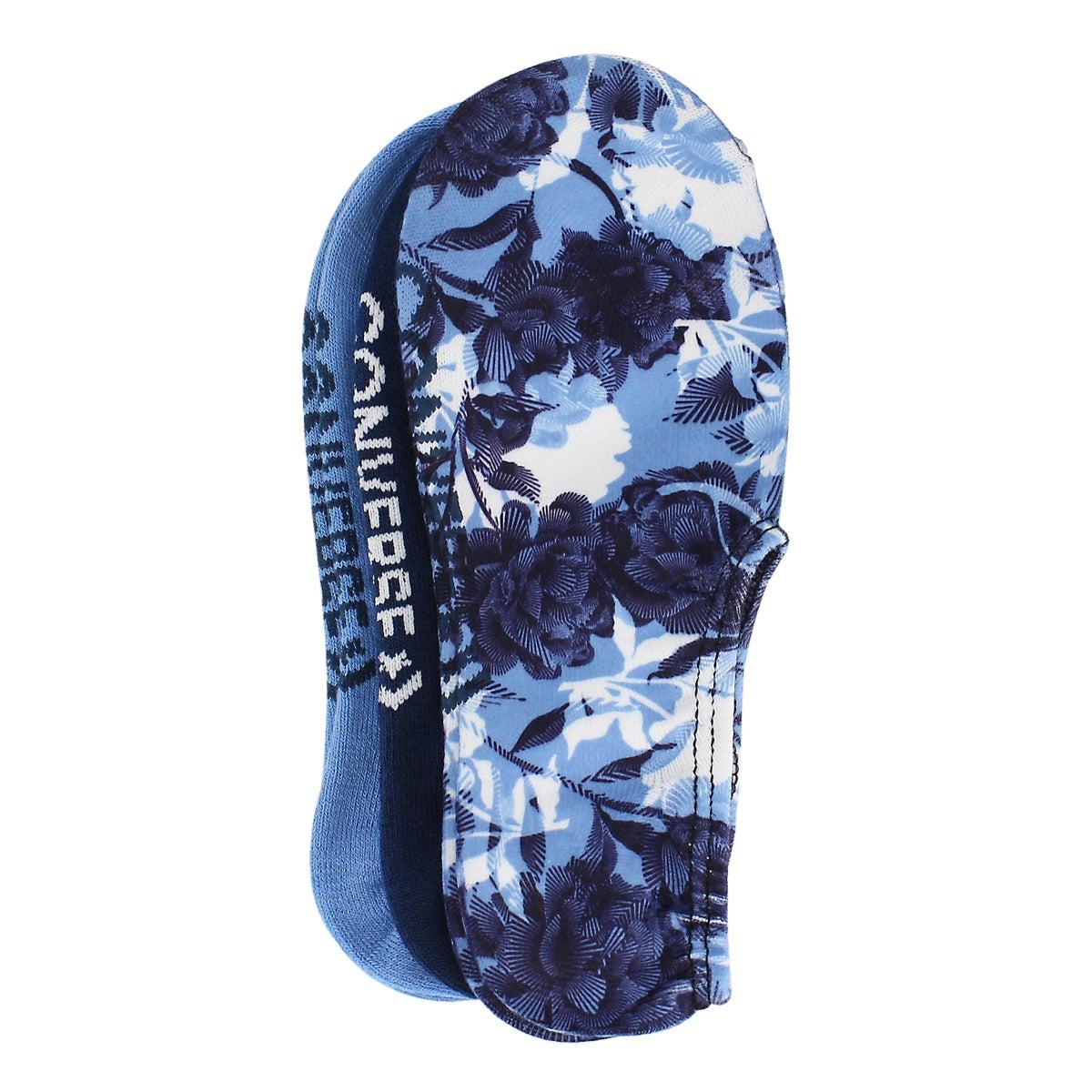 Lds Floral No Show blue print sock 3 pk