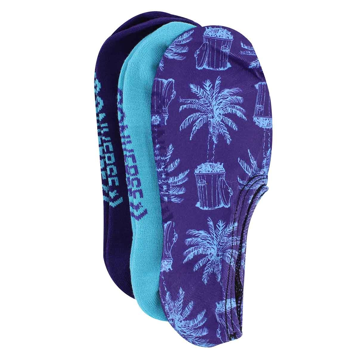 Socq. Trash Palm Print, pourpre,3 p.,fem