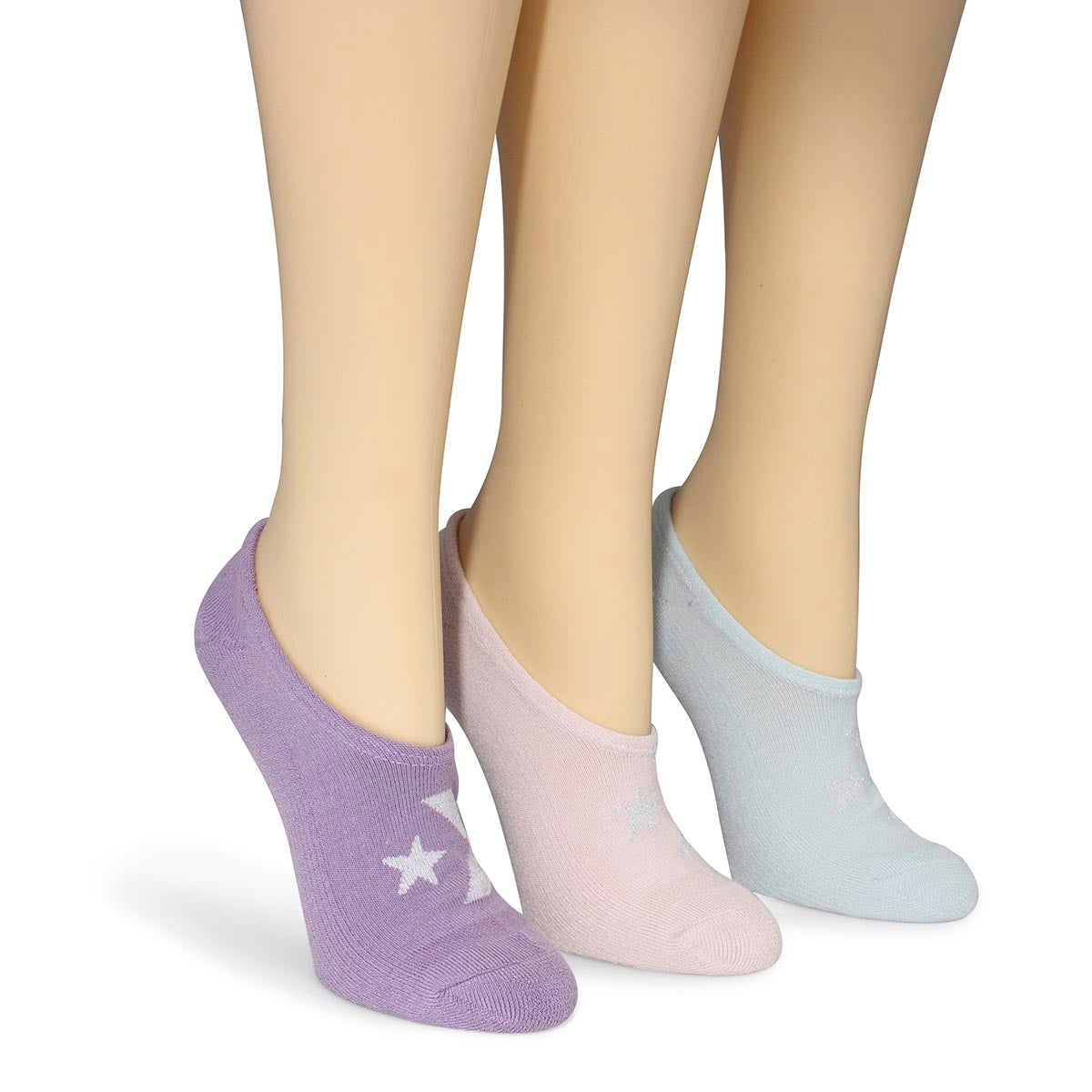 Lds Lurex Star multi no show sock 3 pk