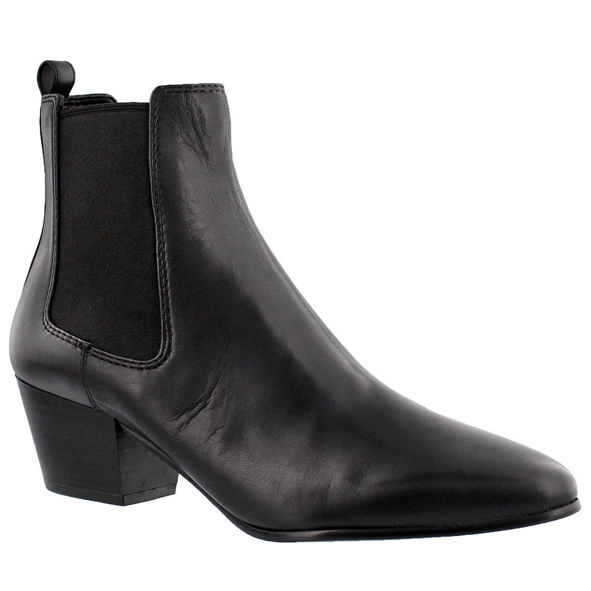 Lds Reesa black leather slip on bootie