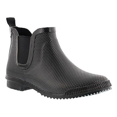 Lds Regent black short rubber boot