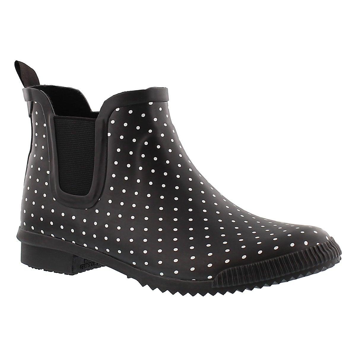 Lds Regent blk polka dot short boot