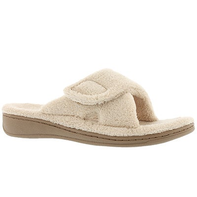 Lds Relax tan open toe/back slipper