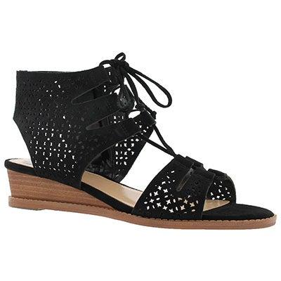 Lds Retana black casual wedge sandal