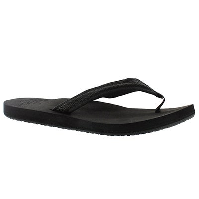 Lds Braided Cushion black thong sandal