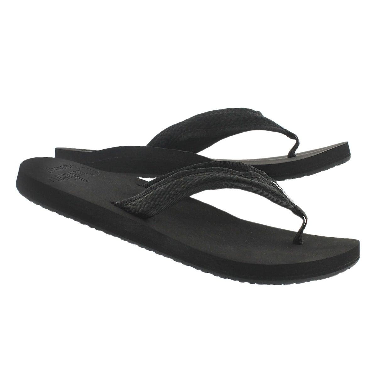 Lds Braided Cushion black thong sandal