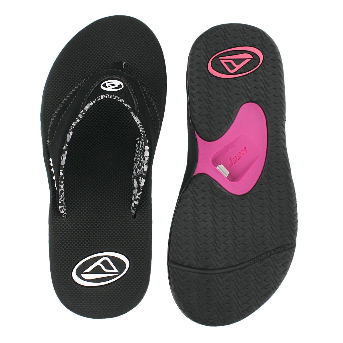 Lds Fanning black thong sandal