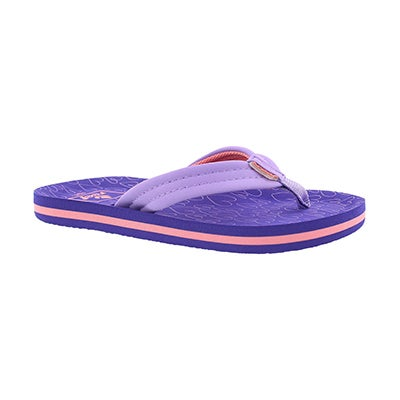 Grls Little AHI purple hearts flip flop