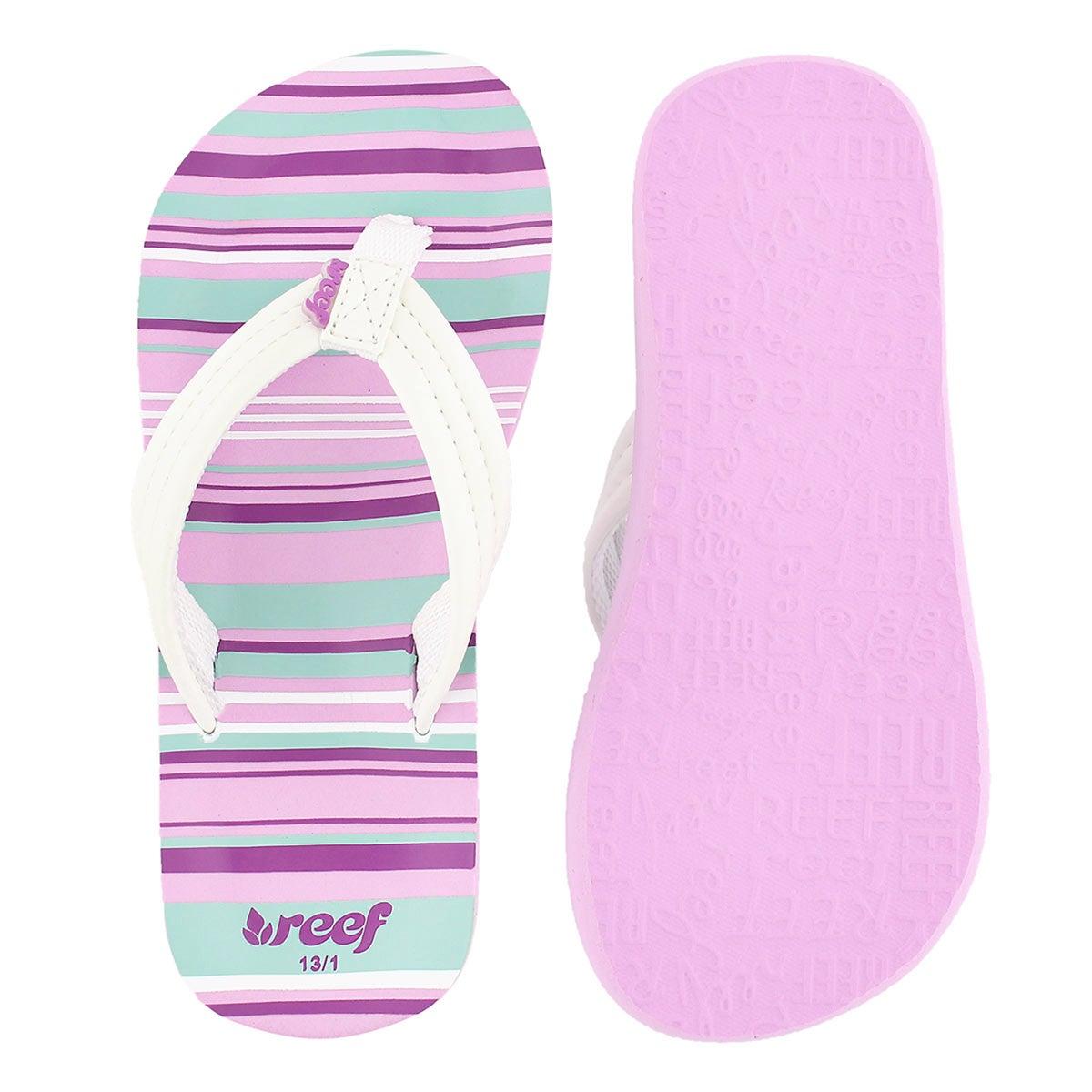 Grls Little AHI purple multi flip flop