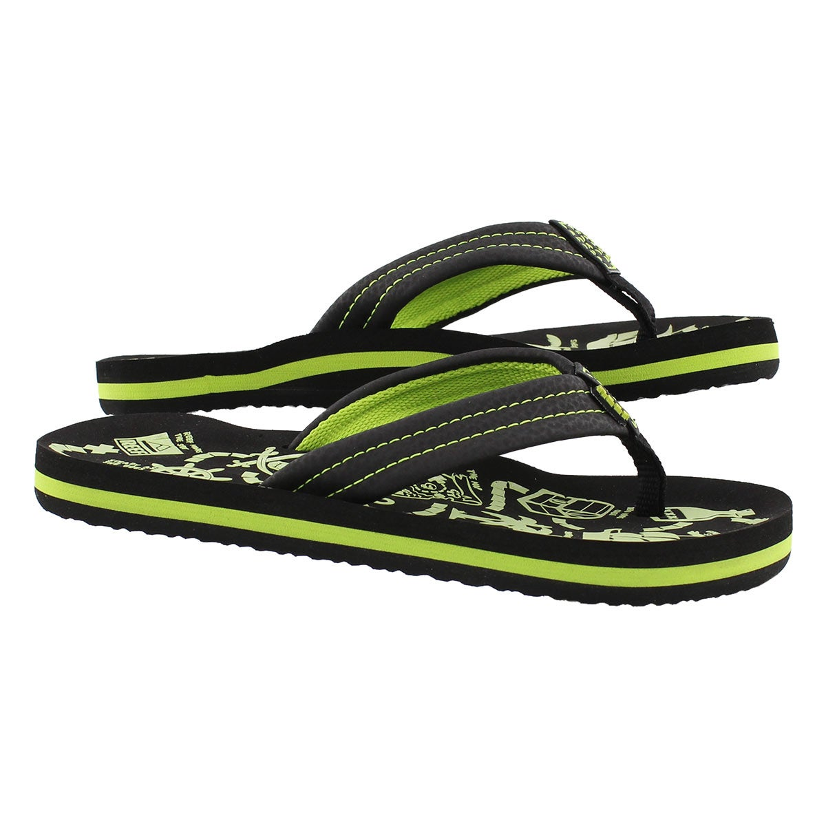 Sandale tong AHI Glow, noir/vert, garçon