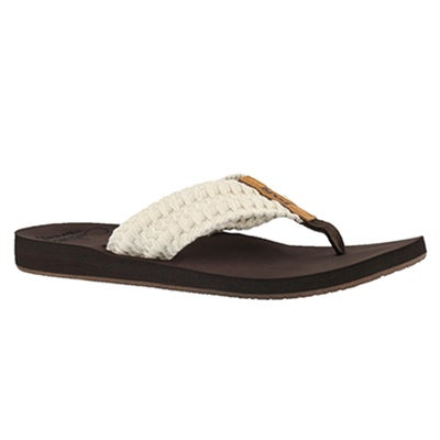 Online Only Lds Reef Cushion Threads wht thng sndl Reef Womens REEF CUSHION THREADS white thong sandal