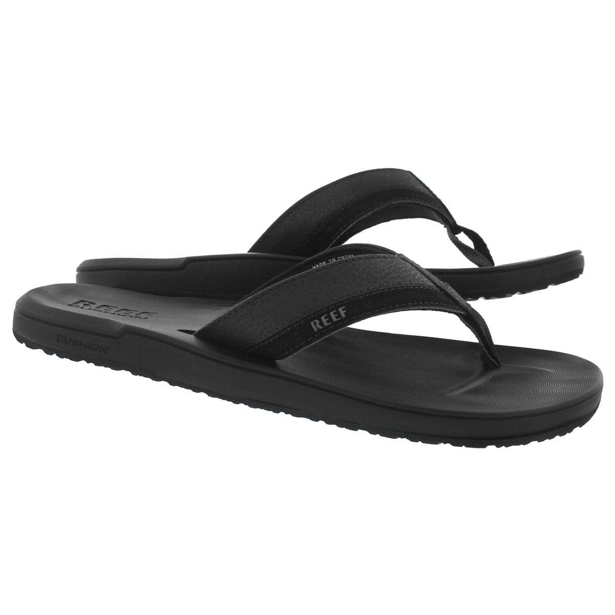 Mns Contoured Cushion black thong sandal
