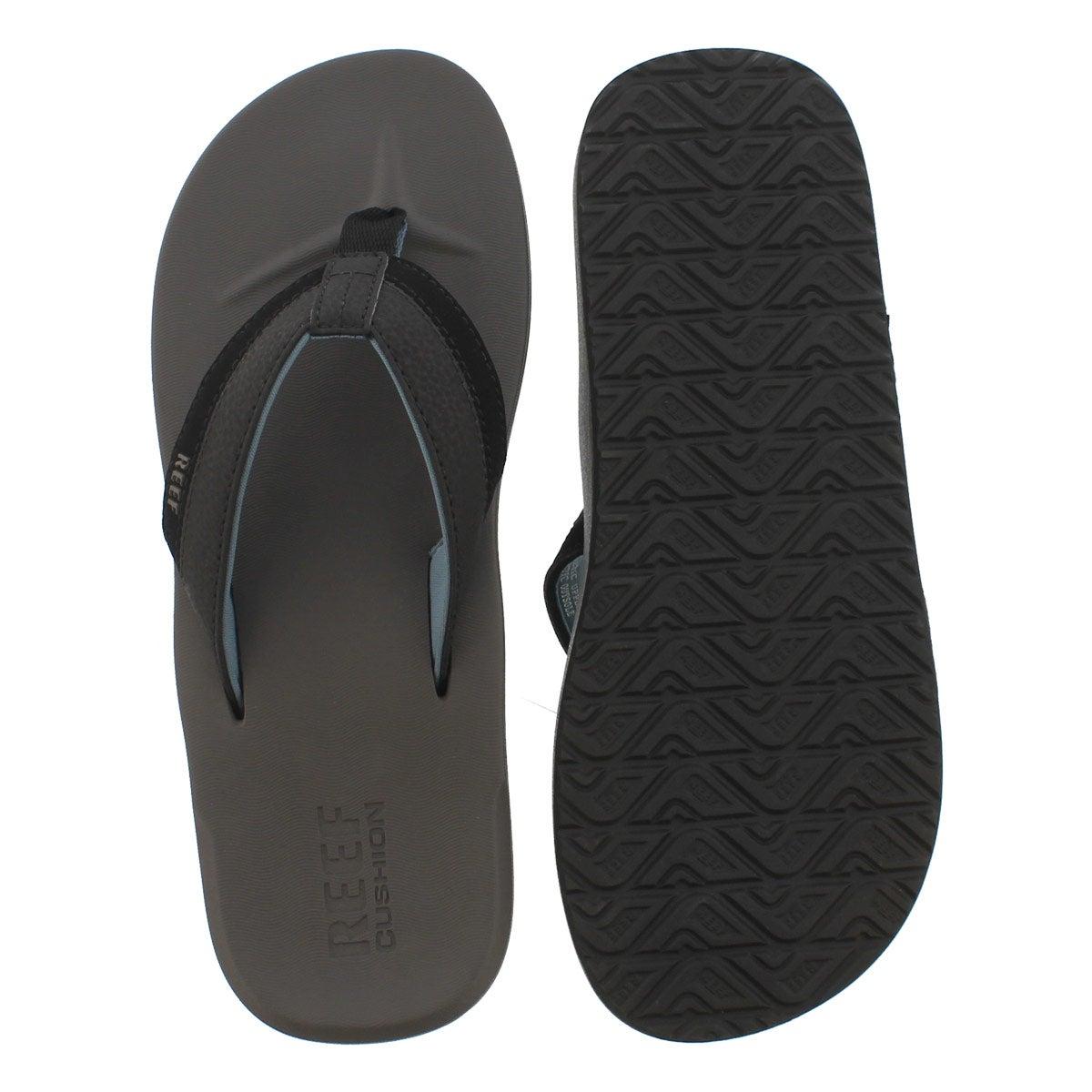 Mns ContouredCushion gy/blu thong sandal