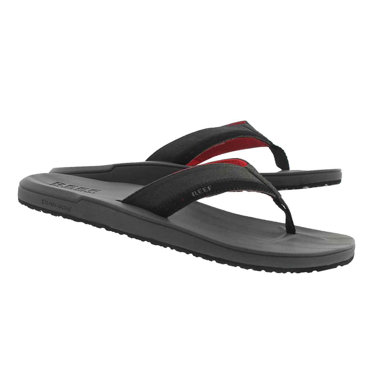 Mns Contoured Cushion gy/rd thong sandal
